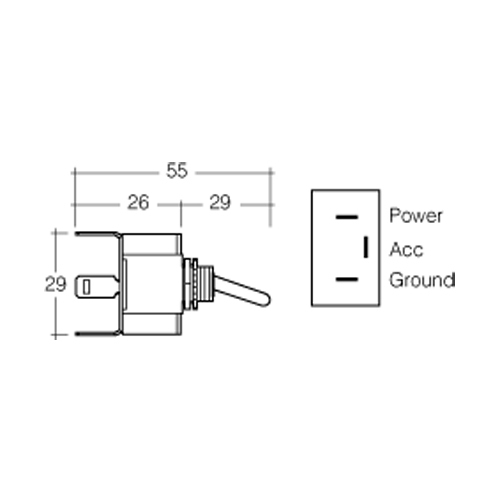 heavy duty toggle switch with blue led off  on spst