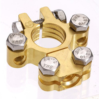Brass Saddle Battery Terminal with Dual Auxiliary (Neg)
