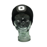 Black LED Head Lamp Beanie