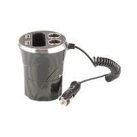 Cup Holder Power Extender with Phone Cradle and Dual USB Sockets