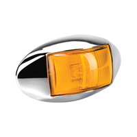 LED 10-33v Amber Side Direction Indicator Lamp - Chrome Base