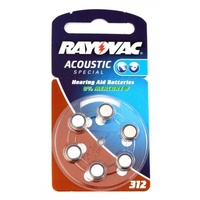 Rayovac V312 Zinc Air Hearing Aid Battery (6 Pack)