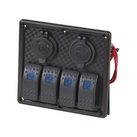 Fused Marine 4 Way Switch Panel with USB and Cigarette Lighter