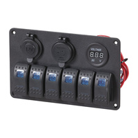 Fused Marine 6 Way Switch Panel with USB, Cigarette Lighter and Voltmeter
