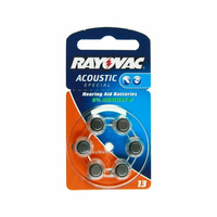 Rayovac V13 Zinc Air Hearing Aid Battery (6 Pack)