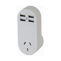 Travel Adaptor 3 Pin NZ to 3 Pin UK with 4 USB Charging Ports
