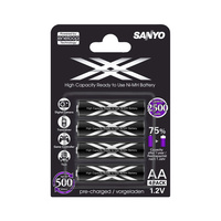 Sanyo Eneloop XX 2500mah Ready To Use AA Battery (4 Pack)