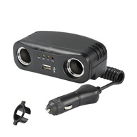 Dual Cigarette Lighter Adaptor Extension with USB